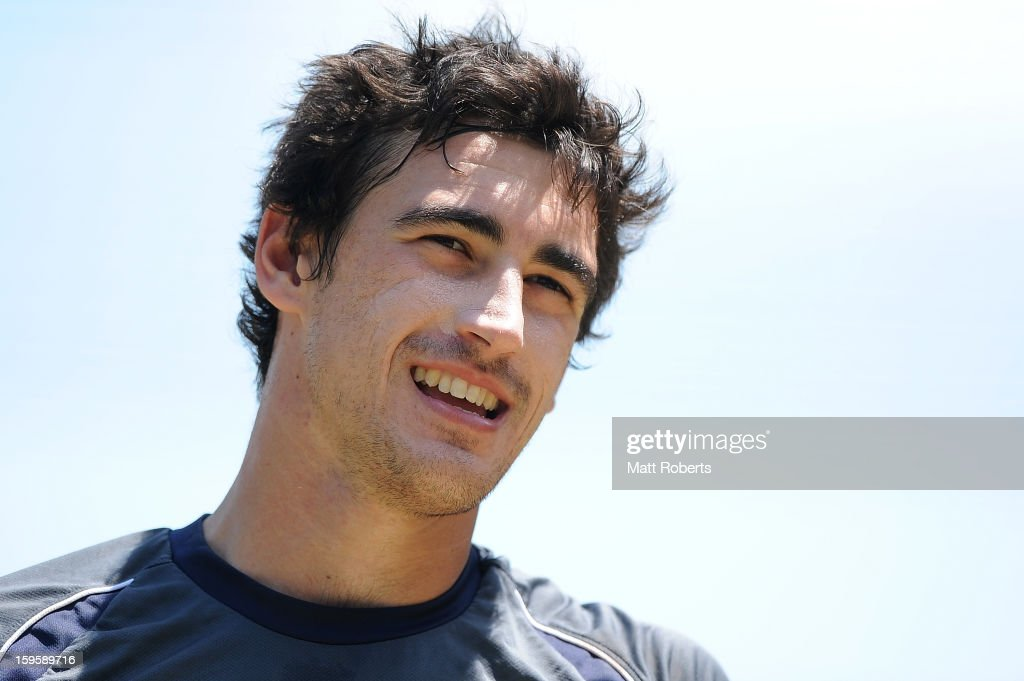 Mitchell Starc looks on during an Australian training session at The Gabba on January 17, 2013 in Brisbane, Australia.