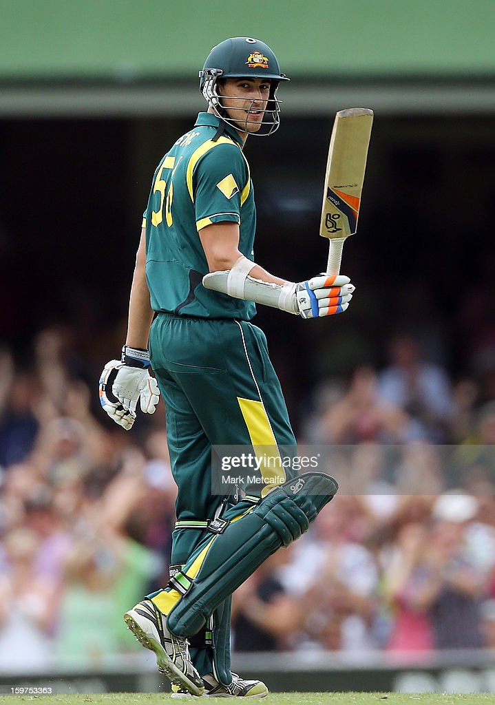 Mitchell Starc of Australia acknowledges the crowd after scoring a half century during game four of the Commonwealth Bank one day international series between Australia and Sri Lanka at Sydney Cricket Ground on January 20, 2013 in Sydney, Australia.