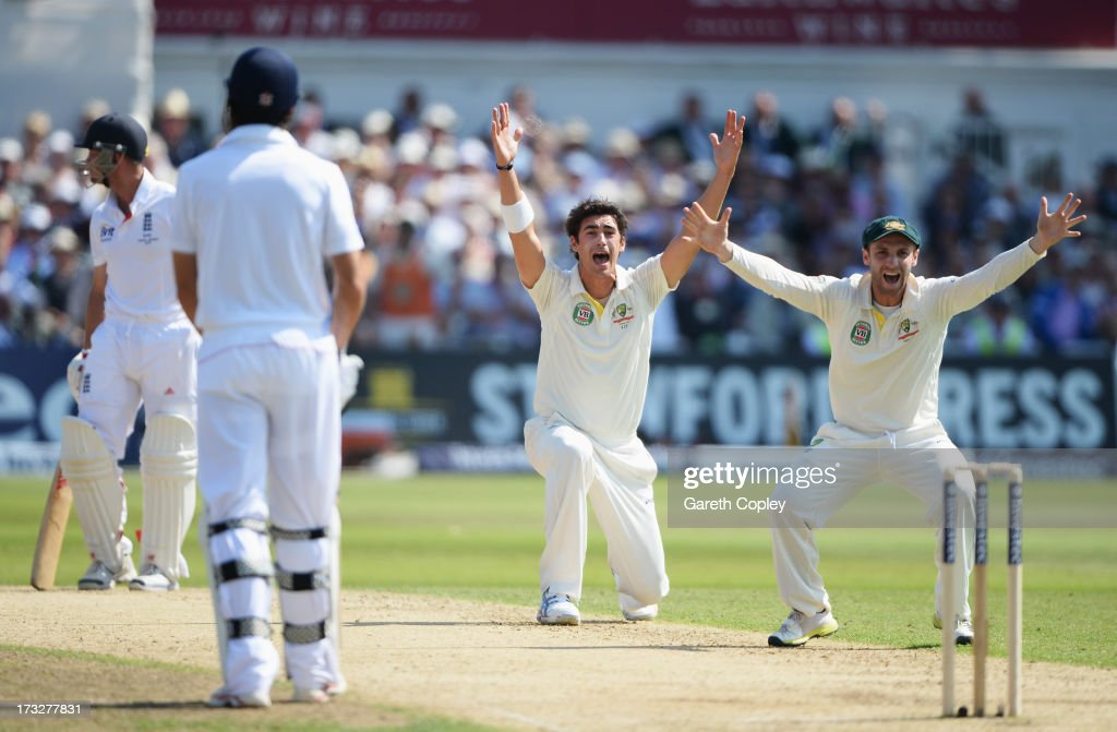 <a gi-track='captionPersonalityLinkClicked' href=/galleries/search?phrase=Mitchell+Starc&family=editorial&specificpeople=6475541 ng-click='$event.stopPropagation()'>Mitchell Starc</a> of Australia appeals successfully for the wicket of <a gi-track='captionPersonalityLinkClicked' href=/galleries/search?phrase=Jonathan+Trott&family=editorial&specificpeople=654505 ng-click='$event.stopPropagation()'>Jonathan Trott</a> of England after a referral, with Phil Hughes (R) during day two of the 1st Investec Ashes Test match between England and Australia at Trent Bridge Cricket Ground on July 11, 2013 in Nottingham, England.