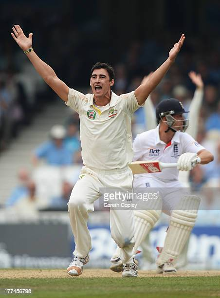 Mitchell Starc of Australia appeals successfully for the wicket of Jonathan Trott of England during day three of the 5th Investec Ashes Test match...