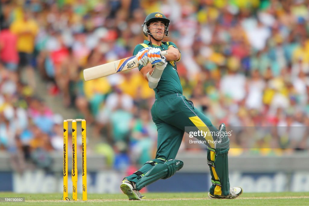 <a gi-track='captionPersonalityLinkClicked' href=/galleries/search?phrase=Mitchell+Starc&family=editorial&specificpeople=6475541 ng-click='$event.stopPropagation()'>Mitchell Starc</a> of Australia bats during game four of the Commonwealth Bank one day international series between Australia and Sri Lanka at Sydney Cricket Ground on January 20, 2013 in Sydney, Australia.