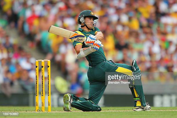 Mitchell Starc of Australia bats during game four of the Commonwealth Bank one day international series between Australia and Sri Lanka at Sydney...