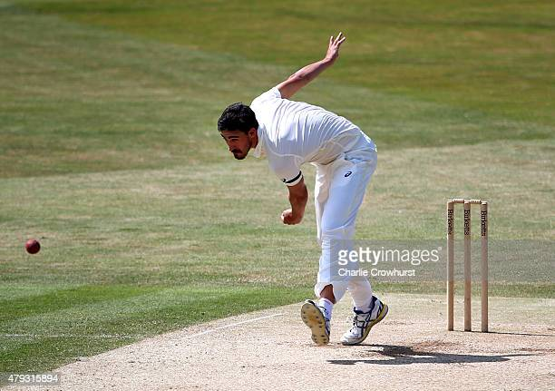 Mitchell Starc of Australia bowls during day three of the tour match between Essex and Australia at The Ford County Ground on July 03 2015 in...