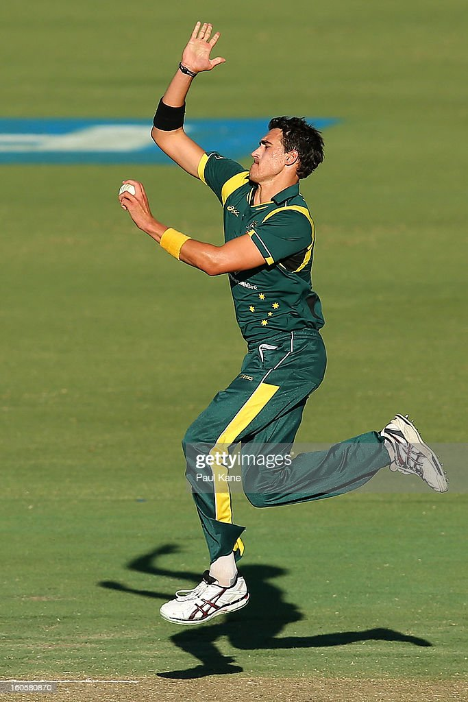 Mitchell Starc of Australia bowls during game two of the Commonwealth Bank One Day International Series between Australia and the West Indies at WACA on February 3, 2013 in Perth, Australia.
