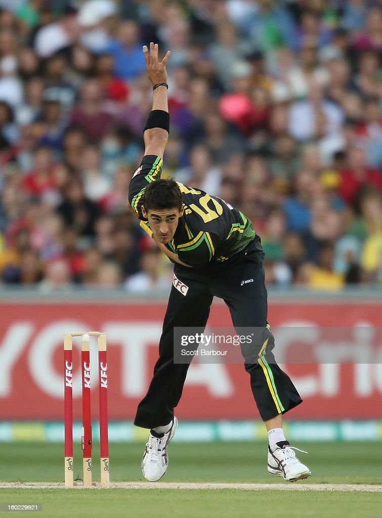 Mitchell Starc of Australia bowls during game two of the Twenty20 International series between Australia and Sri Lanka at the Melbourne Cricket Ground on January 28, 2013 in Melbourne, Australia.