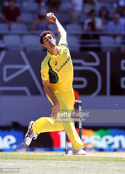 Mitchell Starc of Australia bowls during the oneday international cricket match between New Zealand and Australia at Eden Park in Auckland on January...