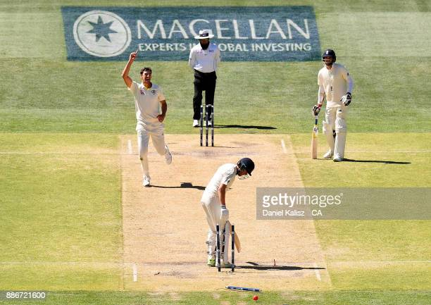 Mitchell Starc of Australia bowls out Jonny Bairstow of England to win the match for Australia during day five of the Second Test match during the...