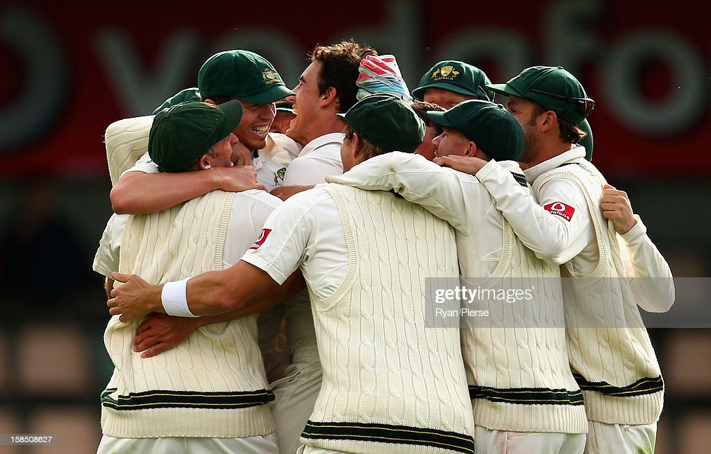 Mitchell Starc of Australia celebrates after taking the final wicket to claim victory during day five of the First Test match between Australia and Sri Lanka at Blundstone Arena on December 18, 2012 in Hobart, Australia.