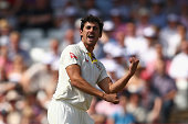 Mitchell Starc of Australia celebrates after taking the wicket of Ian Bell of England during day one of the 4th Investec Ashes Test match between...