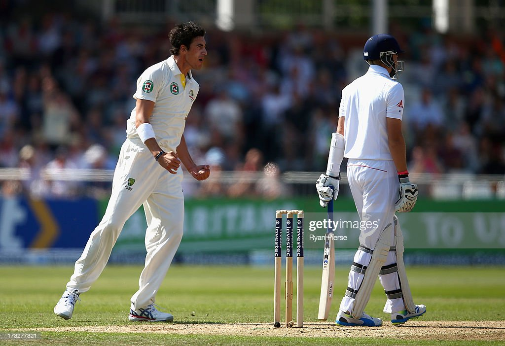 <a gi-track='captionPersonalityLinkClicked' href=/galleries/search?phrase=Mitchell+Starc&family=editorial&specificpeople=6475541 ng-click='$event.stopPropagation()'>Mitchell Starc</a> of Australia celebrates after taking the wicket of <a gi-track='captionPersonalityLinkClicked' href=/galleries/search?phrase=Joe+Root&family=editorial&specificpeople=6688996 ng-click='$event.stopPropagation()'>Joe Root</a> of England during day two of the 1st Investec Ashes Test match between England and Australia at Trent Bridge Cricket Ground on July 11, 2013 in Nottingham, England.