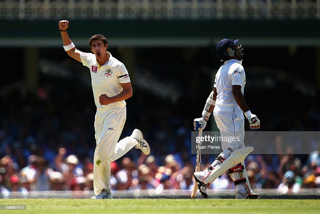<a gi-track='captionPersonalityLinkClicked' href=/galleries/search?phrase=Mitchell+Starc&family=editorial&specificpeople=6475541 ng-click='$event.stopPropagation()'>Mitchell Starc</a> of Australia celebrates after taking the wicket of <a gi-track='captionPersonalityLinkClicked' href=/galleries/search?phrase=Mahela+Jayawardene&family=editorial&specificpeople=213707 ng-click='$event.stopPropagation()'>Mahela Jayawardene</a> of Sri Lanka during day one of the Third Test match between Australia and Sri Lanka at Sydney Cricket Ground on January 3, 2013 in Sydney, Australia.