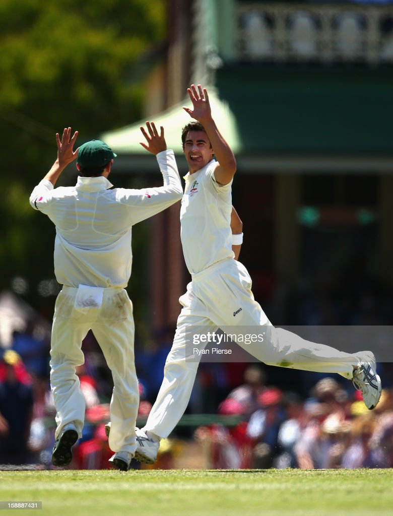 Mitchell Starc of Australia celebrates after taking the wicket of Mahela Jayawardene of Sri Lanka during day one of the Third Test match between Australia and Sri Lanka at Sydney Cricket Ground on January 3, 2013 in Sydney, Australia.