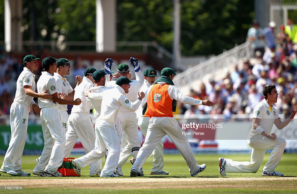 <a gi-track='captionPersonalityLinkClicked' href=/galleries/search?phrase=Mitchell+Starc&family=editorial&specificpeople=6475541 ng-click='$event.stopPropagation()'>Mitchell Starc</a> of Australia celebrates after taking the wicket of Jonathan Trott of England during day two of the 1st Investec Ashes Test match between England and Australia at Trent Bridge Cricket Ground on July 11, 2013 in Nottingham, England.