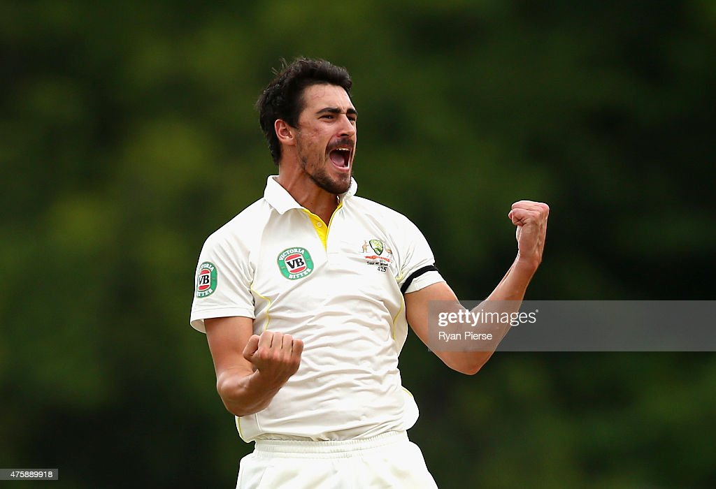 <a gi-track='captionPersonalityLinkClicked' href=/galleries/search?phrase=Mitchell+Starc&family=editorial&specificpeople=6475541 ng-click='$event.stopPropagation()'>Mitchell Starc</a> of Australia celebrates after taking the wicket of Kraigg Brathwaite of West Indies during day two of the First Test match between Australia and the West Indies at Windsor Park on June 4, 2015 in Roseau, Dominica.