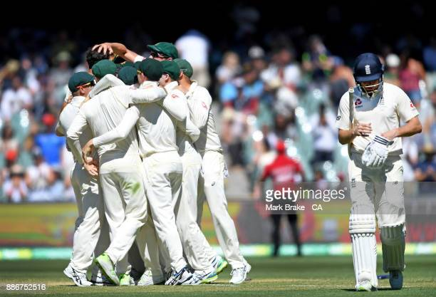 Mitchell Starc of Australia celebrates after taking the wicket of Jonny Bairstow of England during day five of the Second Test match during the...