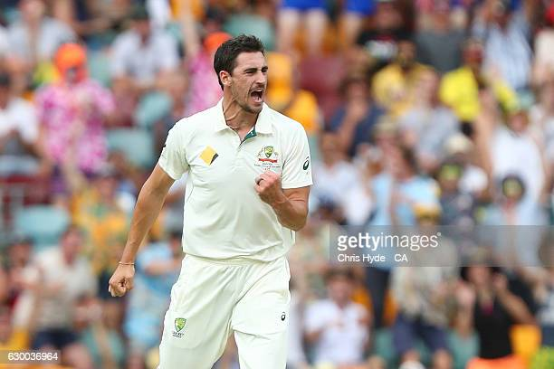 Mitchell Starc of Australia celebrates dismissing Azhar Ali of Pakistan during day two of the First Test match between Australia and Pakistan at The...