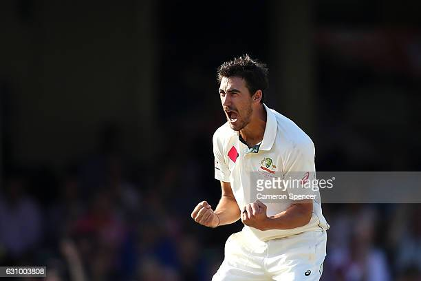 Mitchell Starc of Australia celebrates dismissing Sarfraz Ahmed of Pakistan during day three of the Third Test match between Australia and Pakistan...