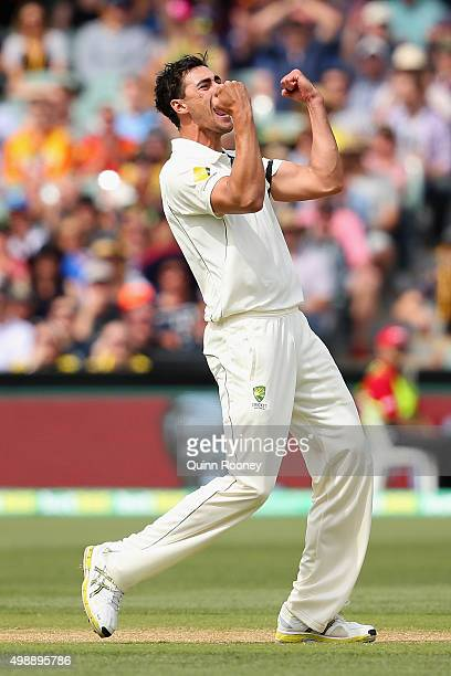 Mitchell Starc of Australia celebrates getting the wicket of Kane Williamson of New Zealand during day one of the Third Test match between Australia...