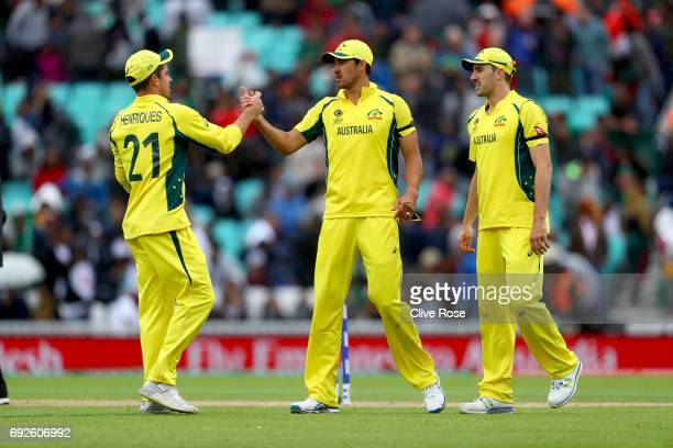 Mitchell Starc of Australia celebrates his fourth wicket during the ICC Champions trophy cricket match between Australia and Bangladesh at The Oval...