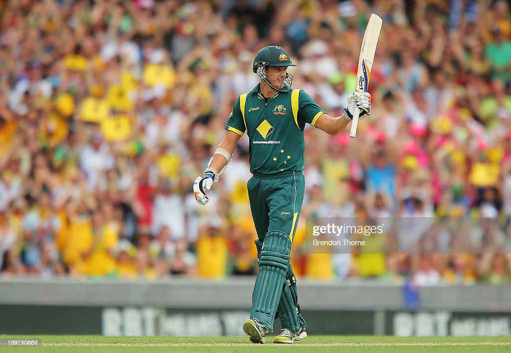 Mitchell Starc of Australia celebrates scoring his half century during game four of the Commonwealth Bank one day international series between Australia and Sri Lanka at Sydney Cricket Ground on January 20, 2013 in Sydney, Australia.
