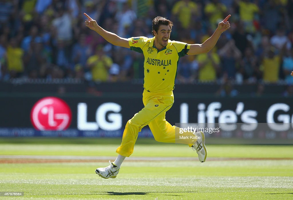 <a gi-track='captionPersonalityLinkClicked' href=/galleries/search?phrase=Mitchell+Starc&family=editorial&specificpeople=6475541 ng-click='$event.stopPropagation()'>Mitchell Starc</a> of Australia celebrates taking the wicket of Brendon McCullum of New Zealand during the 2015 ICC Cricket World Cup final match between Australia and New Zealand at Melbourne Cricket Ground on March 29, 2015 in Melbourne, Australia.