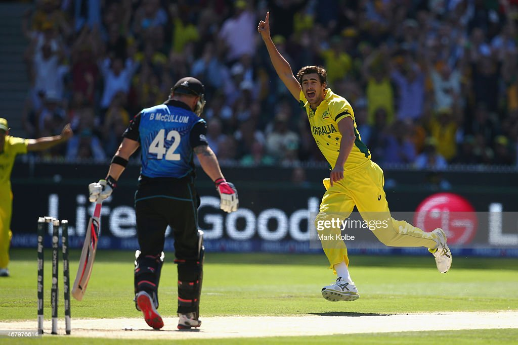 <a gi-track='captionPersonalityLinkClicked' href=/galleries/search?phrase=Mitchell+Starc&family=editorial&specificpeople=6475541 ng-click='$event.stopPropagation()'>Mitchell Starc</a> of Australia celebrates taking the wicket of <a gi-track='captionPersonalityLinkClicked' href=/galleries/search?phrase=Brendon+McCullum&family=editorial&specificpeople=208154 ng-click='$event.stopPropagation()'>Brendon McCullum</a> of New Zealand during the 2015 ICC Cricket World Cup final match between Australia and New Zealand at Melbourne Cricket Ground on March 29, 2015 in Melbourne, Australia.