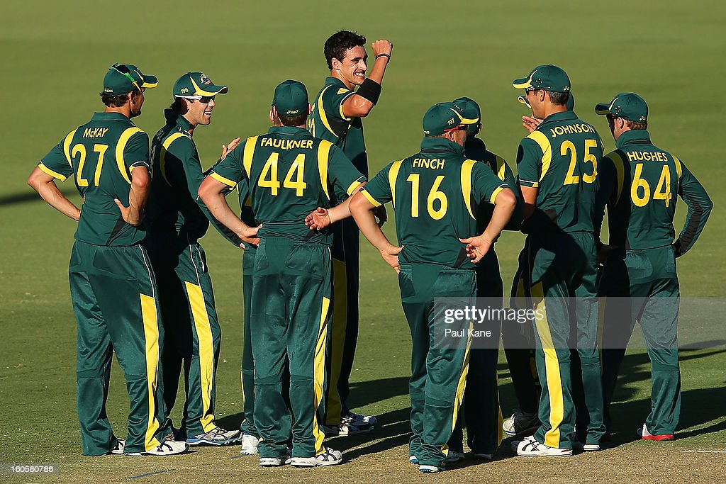 Mitchell Starc of Australia celebrates the wicket of Devon Thomas of the West Indies after a review during game two of the Commonwealth Bank One Day International Series between Australia and the West Indies at WACA on February 3, 2013 in Perth, Australia.