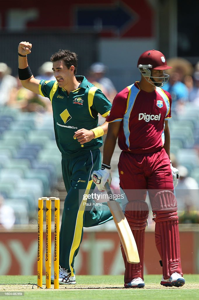<a gi-track='captionPersonalityLinkClicked' href=/galleries/search?phrase=Mitchell+Starc&family=editorial&specificpeople=6475541 ng-click='$event.stopPropagation()'>Mitchell Starc</a> of Australia celebrates the wicket of Kieran Powell of the West Indies during game one of the Commonwealth Bank One Day International Series between Australia and the West Indies at WACA on February 1, 2013 in Perth, Australia.