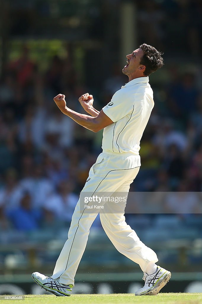 Mitchell Starc of Australia celebrates the wicket of Martin Guptill of New Zealand during day two of the second Test match between Australia and New...