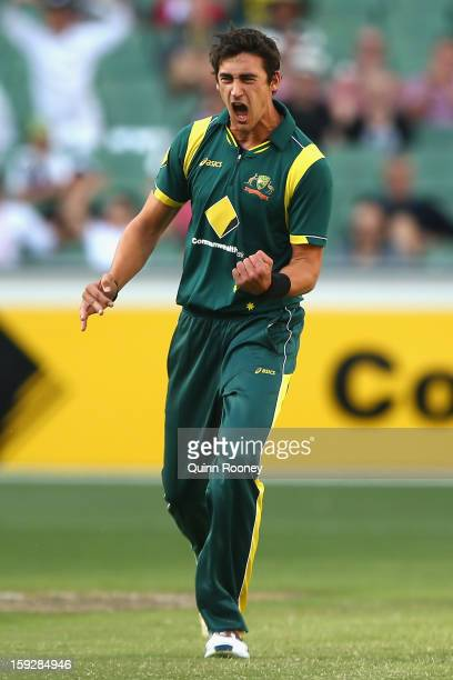 Mitchell Starc of Australia celebrates the wicket of Upul Tharanga of Sri Lanka during game one of the Commonwealth Bank One Day International series...
