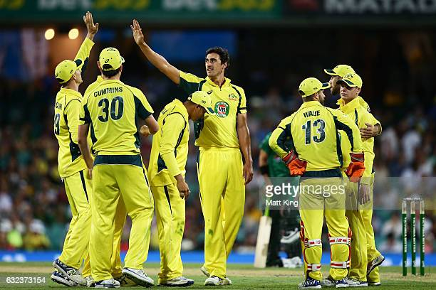 Mitchell Starc of Australia celebrates with team mates after taking the wicket of Umar Akmal of Pakistan during game four of the One Day...