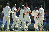 Mitchell Starc of Australia is congratulated by team mates after dismissing Martin Guptill of New Zealand during day two of the second Test match...