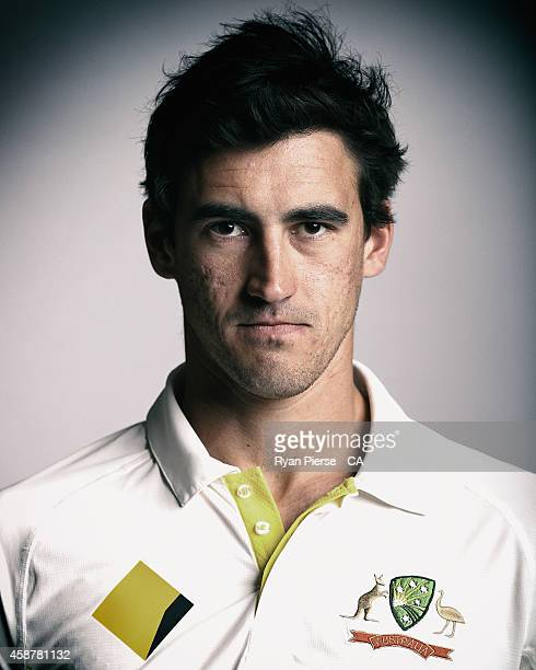 Mitchell Starc of Australia poses during an Australian Test Team Portrait Session on August 11 2014 in Sydney Australia