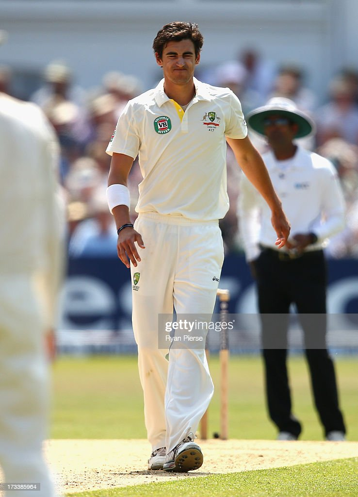 Mitchell Starc of Australia pulls up short while bowling during day four of the 1st Investec Ashes Test match between England and Australia at Trent Bridge Cricket Ground on July 13, 2013 in Nottingham, England.
