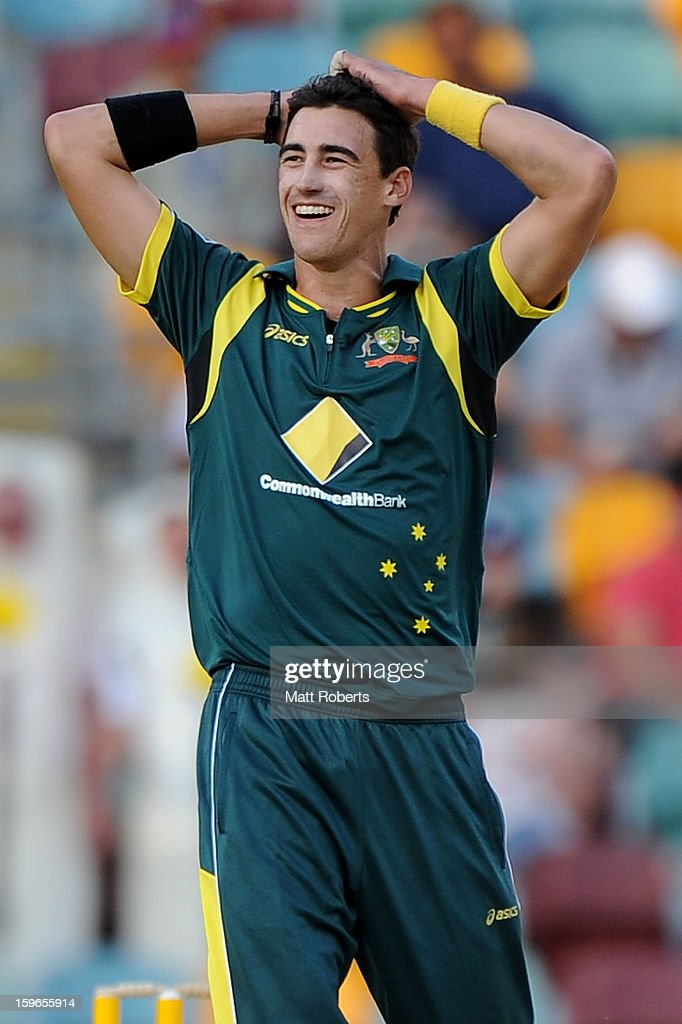 <a gi-track='captionPersonalityLinkClicked' href=/galleries/search?phrase=Mitchell+Starc&family=editorial&specificpeople=6475541 ng-click='$event.stopPropagation()'>Mitchell Starc</a> of Australia reacts during game three of the Commonwealth Bank One Day International Series between Australia and Sri Lanka at The Gabba on January 18, 2013 in Brisbane, Australia.