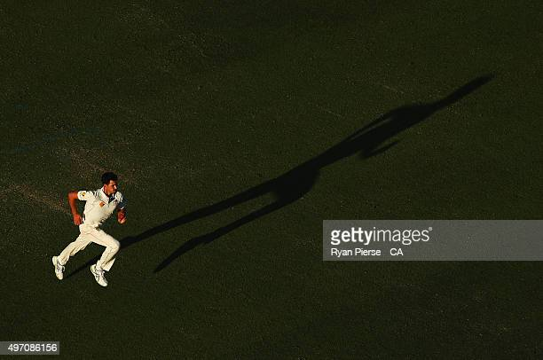 Mitchell Starc of Australia runs in to bowl during day two of the second Test match between Australia and New Zealand at WACA on November 14 2015 in...