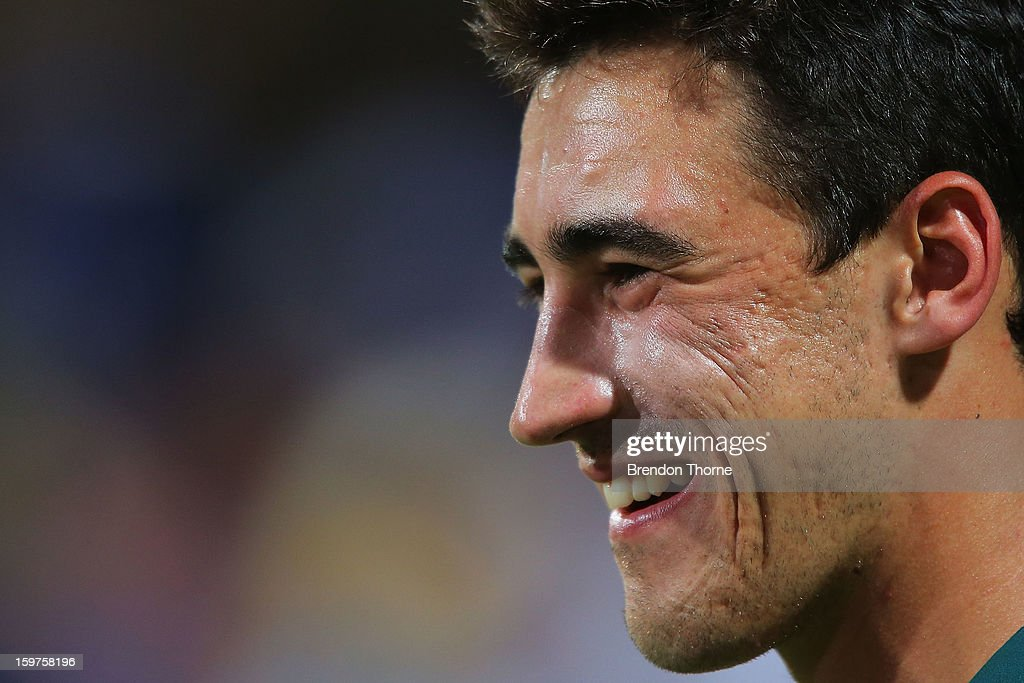 Mitchell Starc of Australia speaks with the media after play was abandoned due to rain following game four of the Commonwealth Bank one day international series between Australia and Sri Lanka at Sydney Cricket Ground on January 20, 2013 in Sydney, Australia.