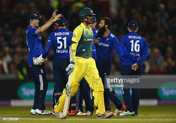 Mitchell Starc of Australia walks off after being dismissed off the bowling of Moeen Ali of England during the 3rd Royal London OneDay International...