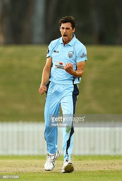 Mitchell Starc of the Blues celebrates a wicket during the Matador BBQs One Day Cup match between New South Wales and Western Australia at Blacktown...
