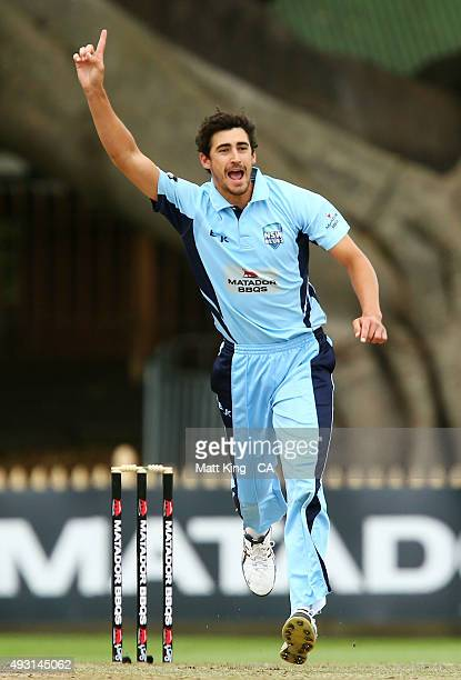 Mitchell Starc of the Blues celebrates taking the wicket of Aaron Finch of the Bushrangers during the Matador BBQs One Day Cup match between New...