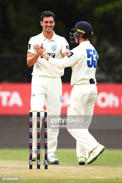 Mitchell Starc of the Blues celebrates with Nic Maddinson of the Blues after trapping David Moody of the Warriors LBW to claim the second of his...