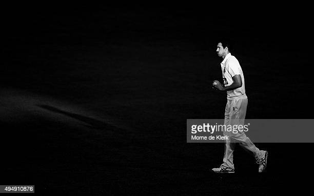 Mitchell Starc of the Blues prepares to bowl during day three of the Sheffield Shield match between South Australia and New South Wales at Adelaide...