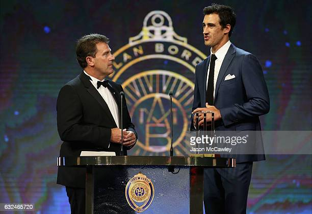Mitchell Starc speaks on stage after winning the Test Player of the Year award during the 2017 Allan Border Medal at The Star on January 23 2017 in...