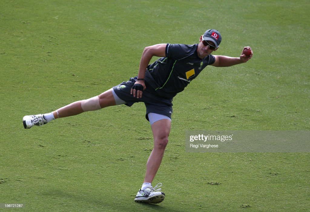 <a gi-track='captionPersonalityLinkClicked' href=/galleries/search?phrase=Mitchell+Starc&family=editorial&specificpeople=6475541 ng-click='$event.stopPropagation()'>Mitchell Starc</a> throws the ball during an Australian training session at Adelaide Oval on November 20, 2012 in Adelaide, Australia.