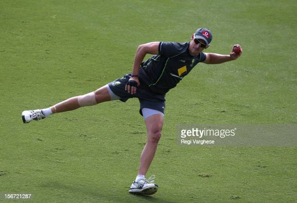 Mitchell Starc throws the ball during an Australian training session at Adelaide Oval on November 20 2012 in Adelaide Australia