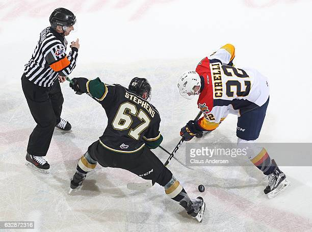 Mitchell Stephens of the London Knights takes a faceoff against Anthony Cirelli of the Erie Otters during an OHL game at Budweiser Gardens on January...