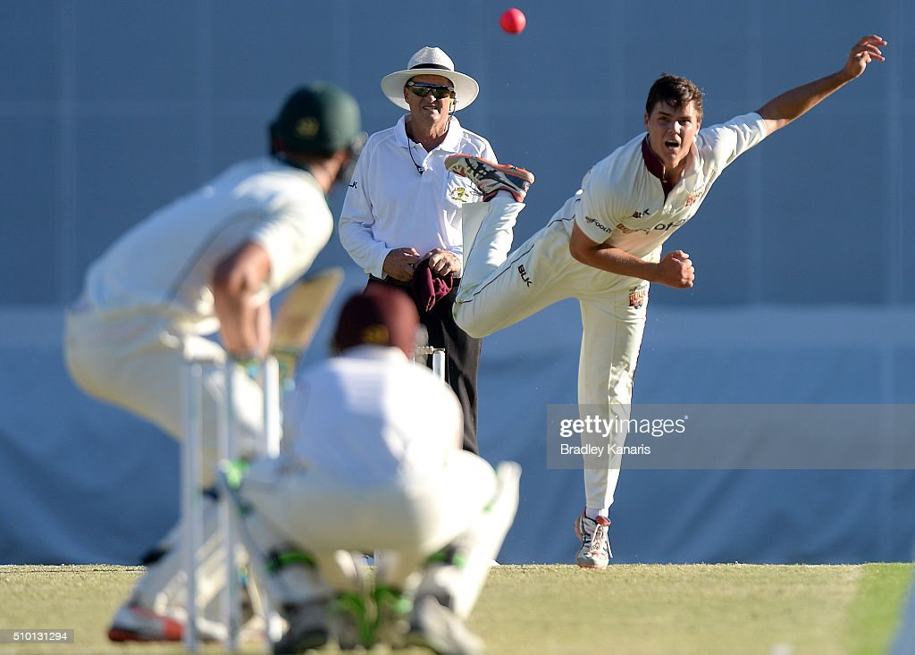 Mitchell Swepson of Queensland bowls during day one of the Sheffield Shield match between Queensland and Tasmania at The Gabba on February 14, 2016 in Brisbane, Australia.