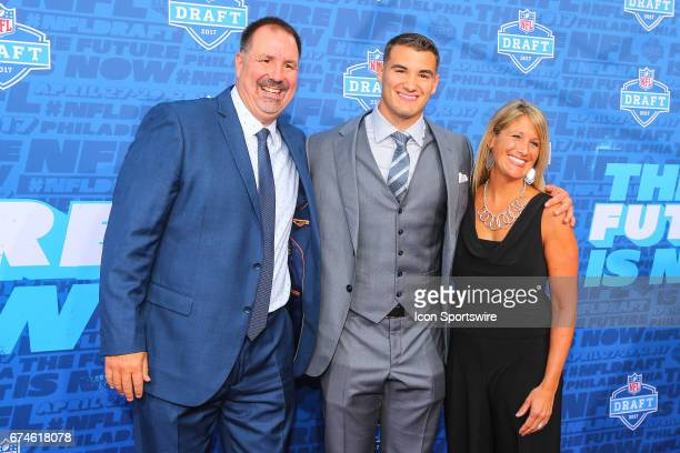 Mitchell Trubisky from North Carolina along with his mother Jeanne and father David on the Red Carpet outside of the NFL Draft Theater on April 27...