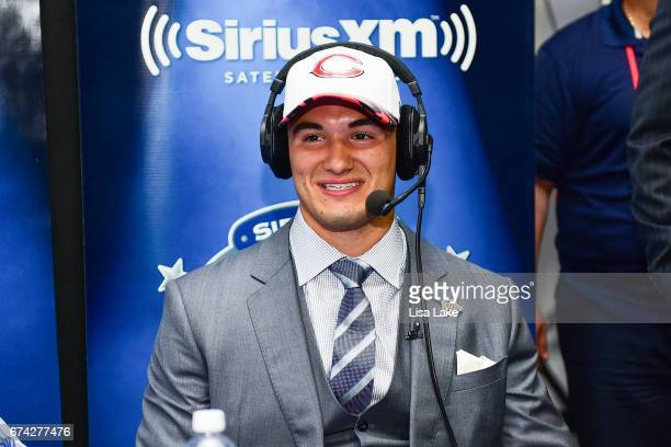 Mitchell Trubisky of North Carolina visits the SiriusXM NFL Radio talkshow after being picked overall by the Chicago Bears during the first round of...