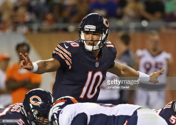 Mitchell Trubisky of the Chicago Bears call signals against the Denver Broncos during a preseason game at Soldier Field on August 10 2017 in Chicago...